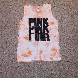 VSPINK Campus Logo Tank Top Tie Dye Size Small NWT